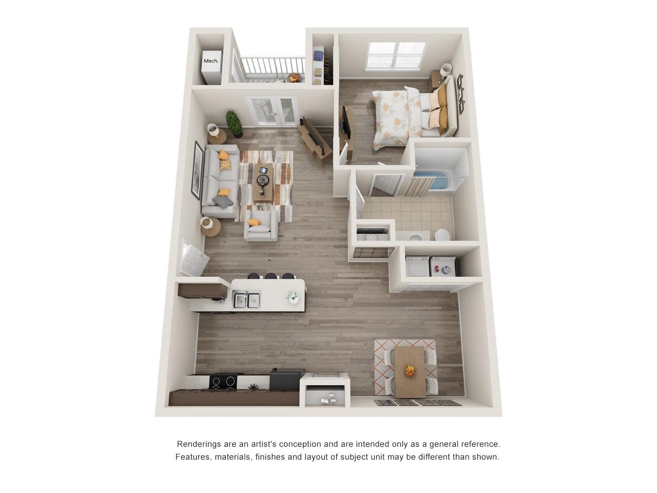 Sansom Bluffs 1 Bedroom Floorplan