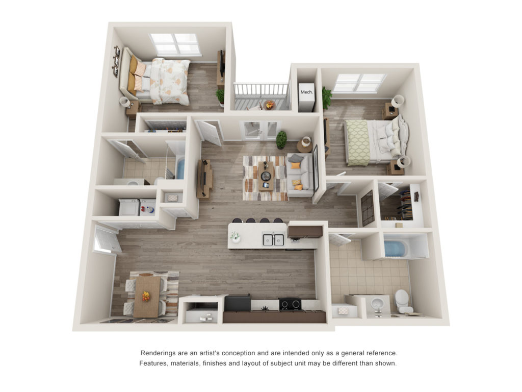 Sansom Bluffs 2 Bedroom Floorplan