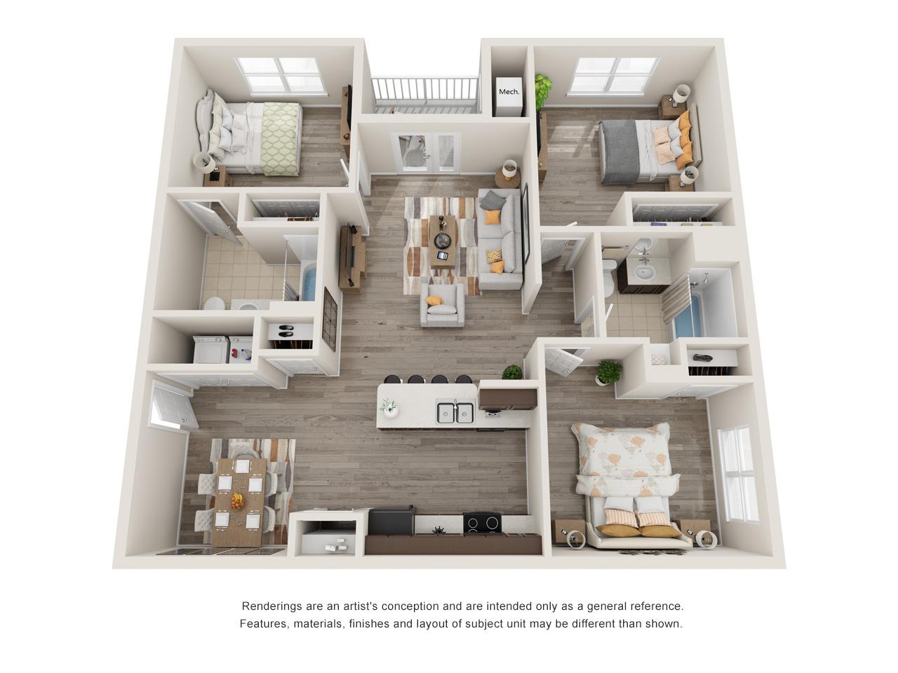Sansom Bluffs 3 Bedroom Floorplan